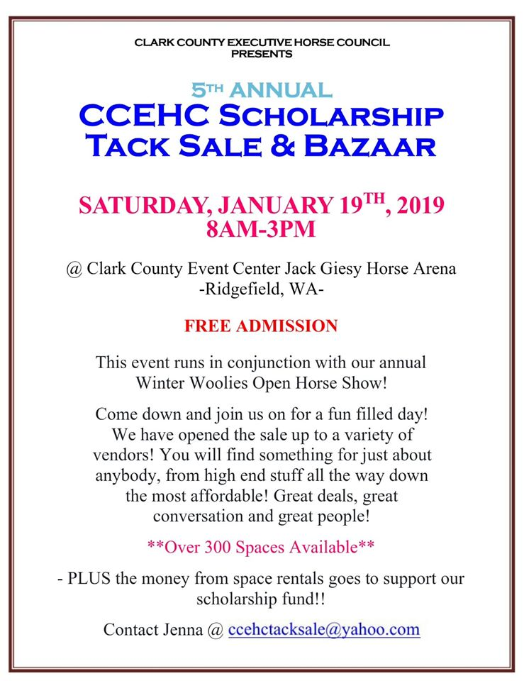 5th Annual CCEHC Scholarship Tack Sale & Bazaar @ Jack Giesey Horse Arena @ Clark County Fairgrounds | Ridgefield | Washington | United States