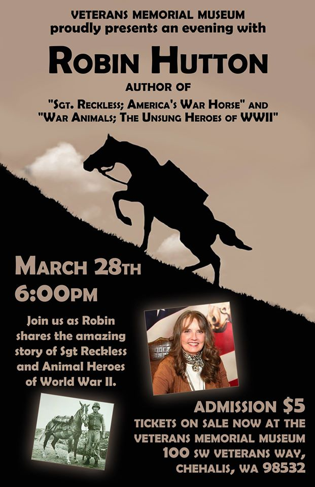 A Night With The Author of 'Sgt Reckless' @ Veteranx Memorial Museum | Chehalis | Washington | United States