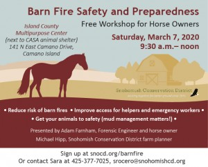 Barn Fire Safety and Preparedness- Free Workshop for Horse Owners @ Island County Multipurpose Center (next to CASA animal shelter) | Camano | Washington | United States