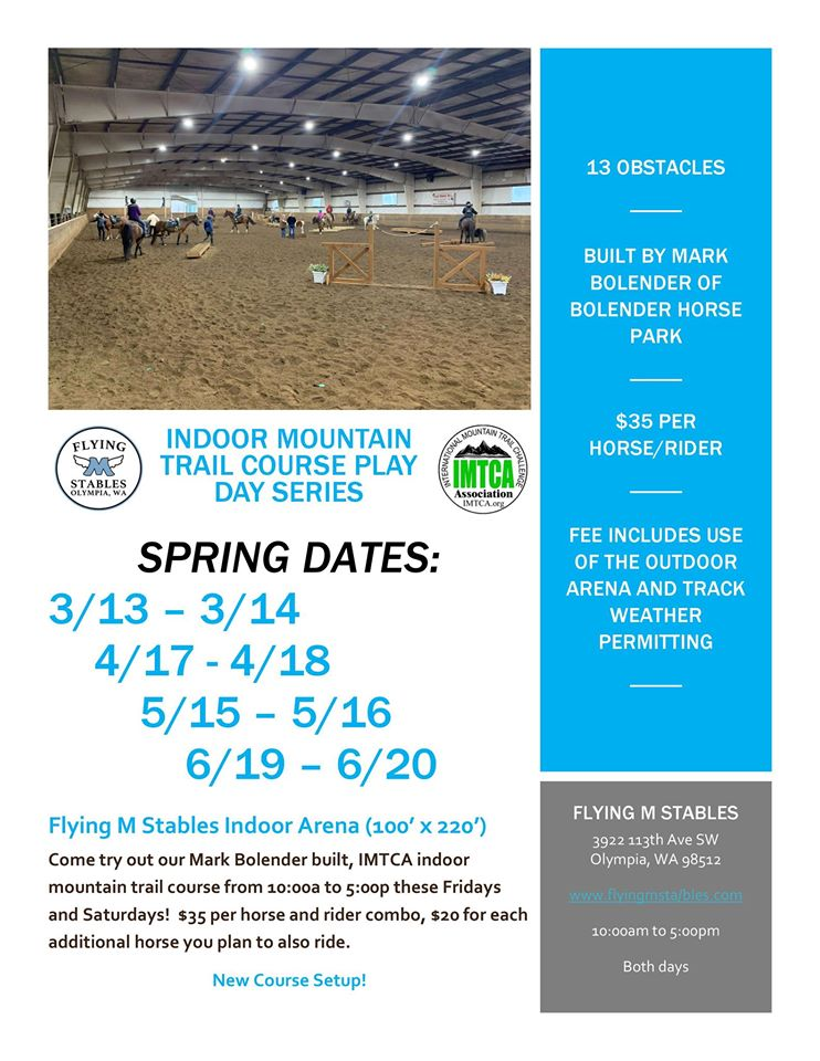 Indoor Mountain Trail Course Playday Series @ Flying M Stables | Olympia | Washington | United States