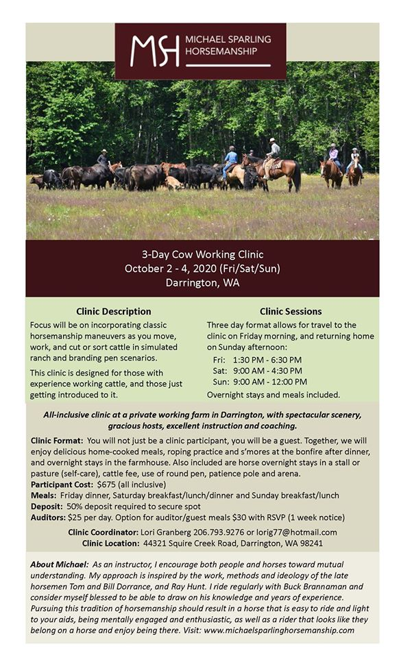 Cow Working Clinic with Michael Sparling Horsemanship @ Darrington | Washington | United States