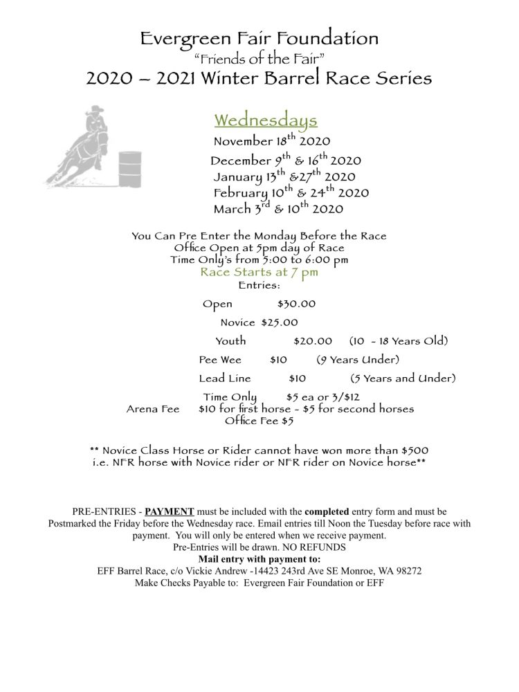 Winter Barrel Race Series @ Evergreen State Equestrian Park | Monroe | Washington | United States